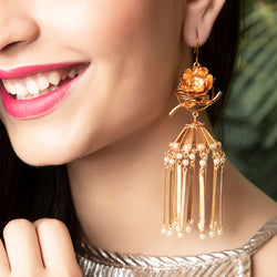 GOLD PLATED FLOWER BUNCH AND HEAVY JHUMKA EARRING