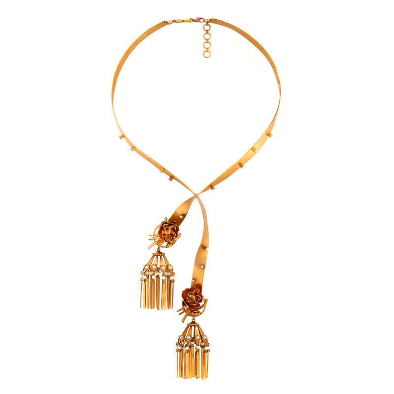 GOLD PLATED PEARLS & STRIP CRISS CROSS NECKPIECE WITH ROUND FLOWER, JHUMKA HANGING BOTH SIDE