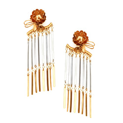 GOLD PLATED FLOWER BUNCH, PEARLS AND SILVER & GOLDEN TWIGS LONG EARRING