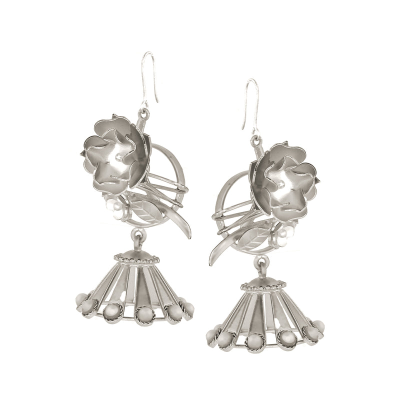 SILVER PLATED FLOWER BUNCH AND JHUMKA EARRING