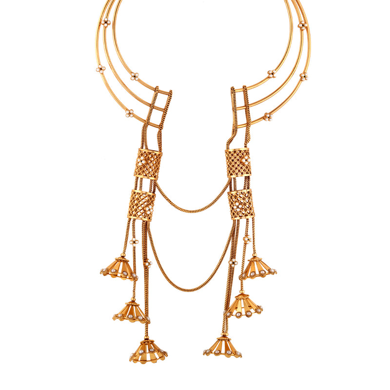 GOLD PLATED 3 LINE WIRE NECKPIECE WITH DORI CHAIN, LATTICE SCROLLS AND JHUMKAS HANGING ON CENTER