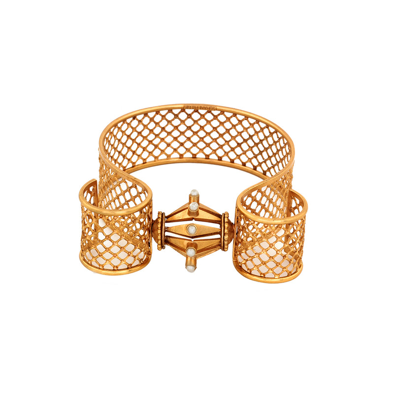 GOLD PLATED LATTICE AND DAMRU HORN BANGLE