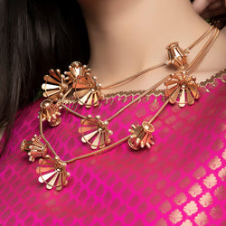 GOLD PLATED 3 LINE DORI CHAIN NECKPIECE WITH DAMRU AND JHUMKA HANGING