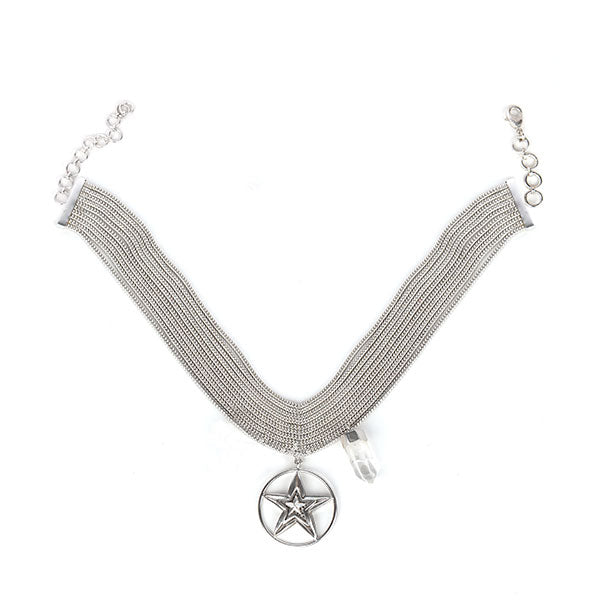 SILVER PLATED 10 LINE DORI CHOKER WITH ROUND WIRE