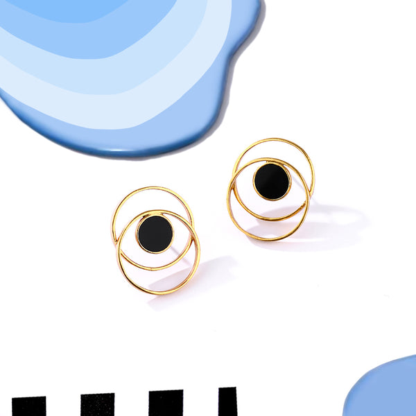 Gold Toned Circle On Circle Stud Earrings With Black Perspex Detail