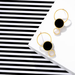 Gold Toned Triple Circle Earrings With Black Perspex Detail