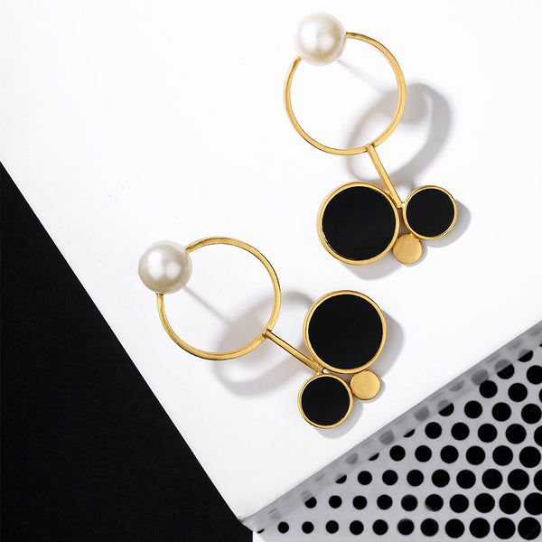 Gold Toned Multi-Circle Earrings With Black Perspex Disc & Pearl Detail