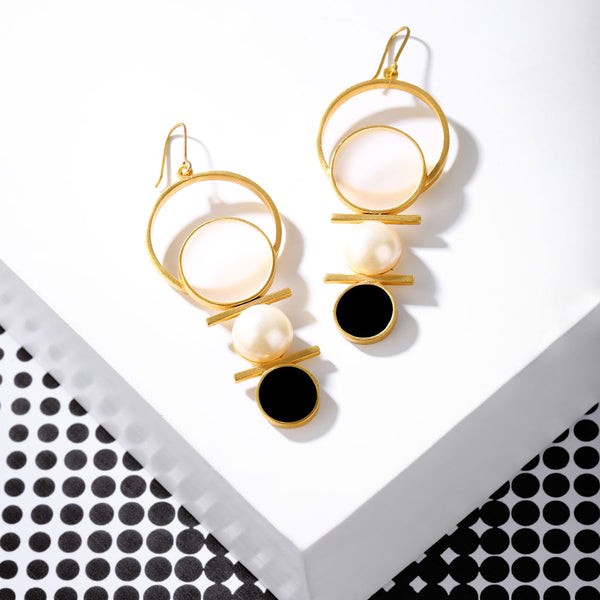 Gold Toned Multi-Circle Pearl Earrings With Black Perspex & White Acrylic