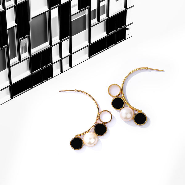 Gold Toned Semi-Hoop Pearl Earrings With Black Perspex & White Acrylic