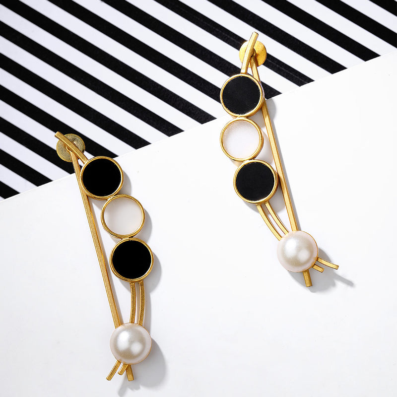 Gold Toned Bow Pearl Earrings With Black Perspex & White Acrylic