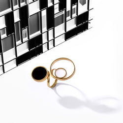 Gold Toned Multi-Circle Finger Ring With Black Perspex & White Acrylic