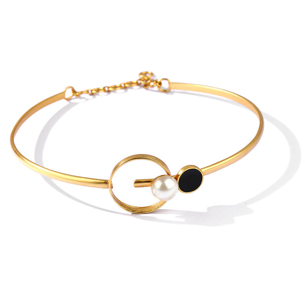 Gold Toned Circles Pearl Choker Necklace With Black Perspex & White Acrylic