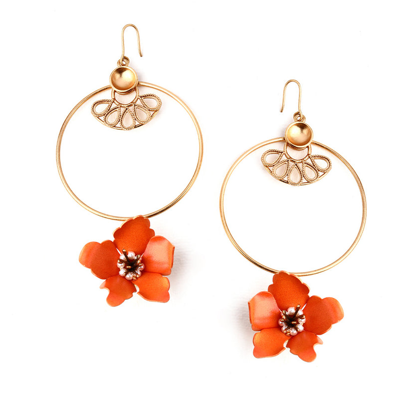 GOLD TONED CIRCULAR DROP EARRINGS WITH VIVID ORANGE LILY & CREST DETAIL