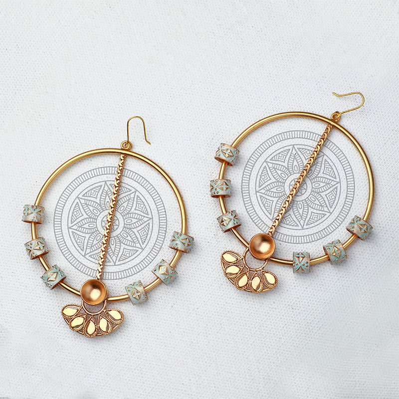 GOLD TONED CIRCULAR DROP EARRINGS WITH CREST & ENAMEL CHARMS DETAIL