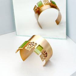 GOLD TONED CUFF WITH CHARTREUSE ACRYLIC & DOTTED BLOCKS