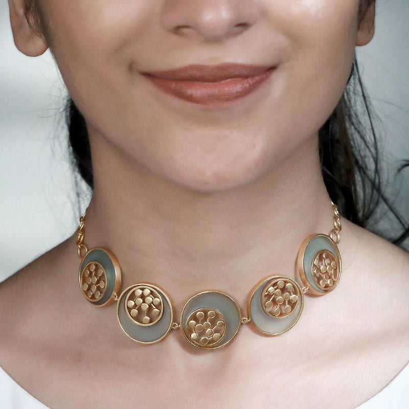 GOLD TONED CYAN ACRYLIC TANGENT CHOKER WITH INLAID DOTTED CIRCLES