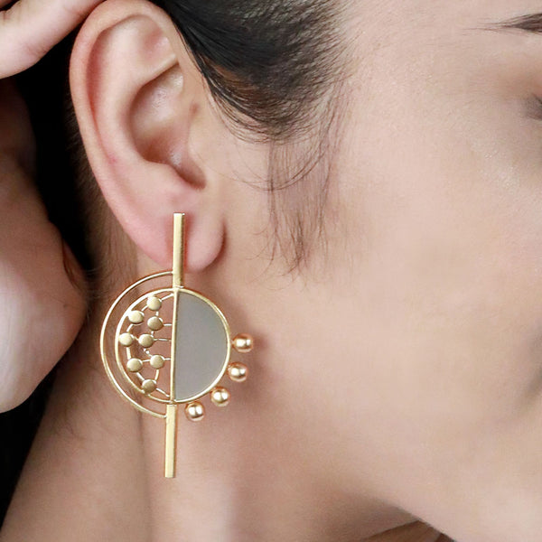 GOLD TONED SPLIT CIRCULAR STUDS WITH CYAN ACRYLIC & DOTTED DETAIL