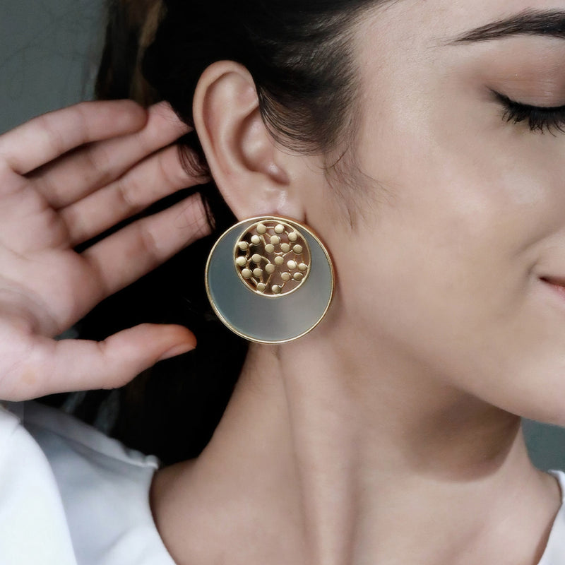 GOLD TONED CYAN ACRYLIC TANGENT STUDS WITH INLAID DOTTED CIRCLES