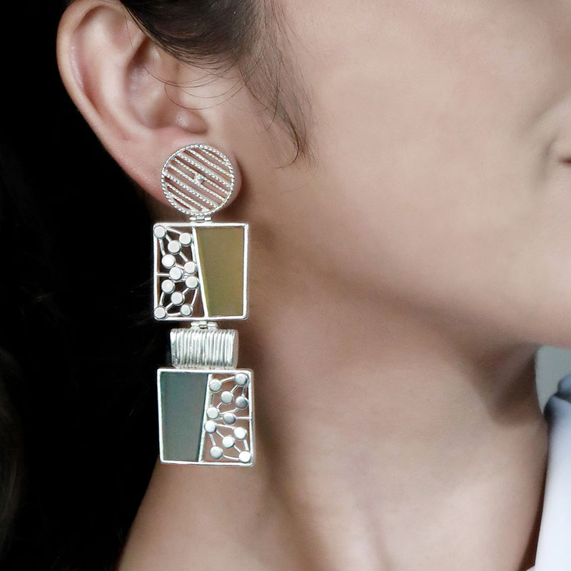 SILVER TONED BLOCK DROP EARRINGS WITH SPLIT ACRYLIC & DOTTED BLOCKS