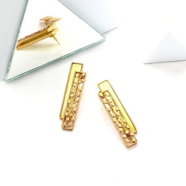 GOLD TONED CHARTREUSE ACRYLIC & DOTTED BLOCK STUDS