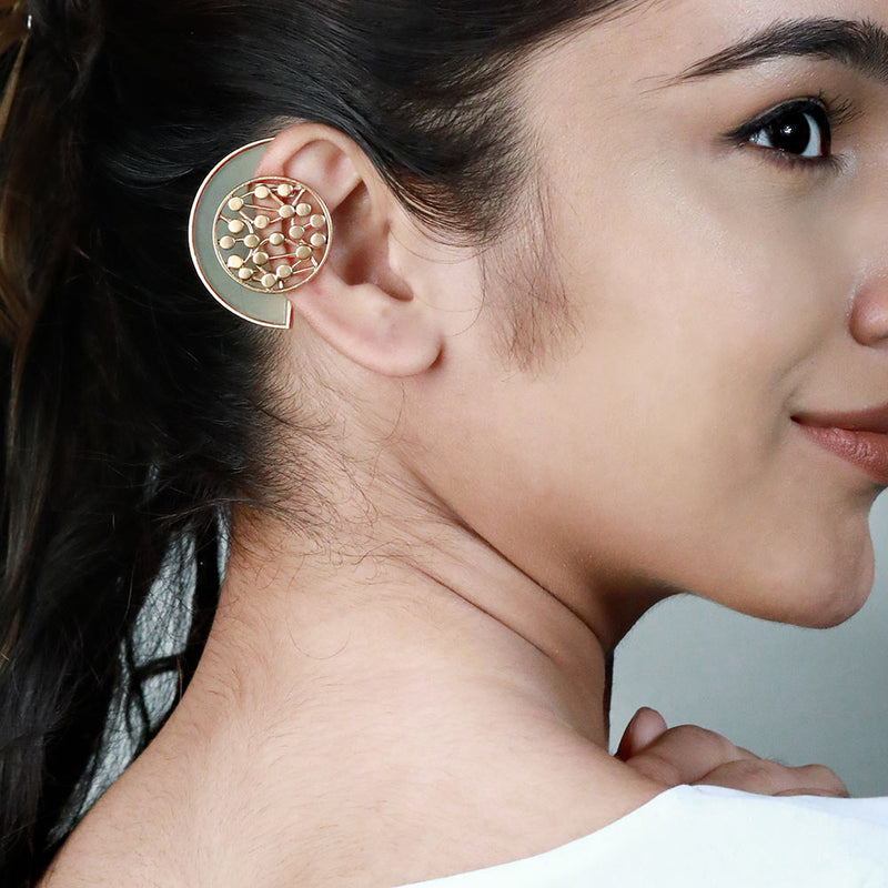 GOLD TONED SEMI-CIRCULAR YELLOW ACRYLIC EAR CUFFS WITH DOTTED CIRCLE