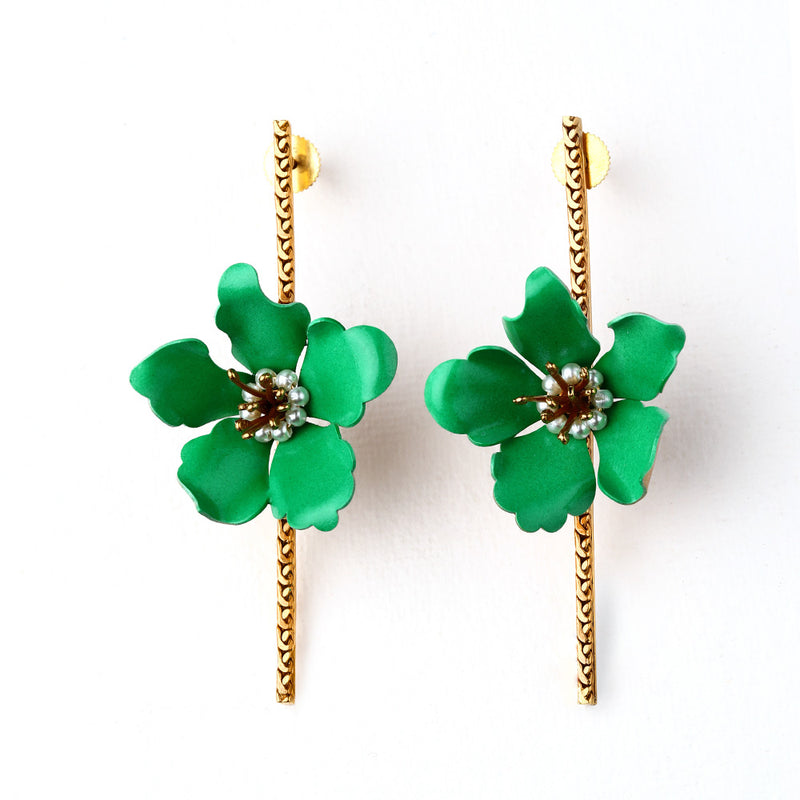 GOLD TONED GREEN LILY BAR EARRINGS