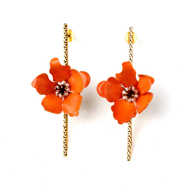GOLD TONED VIVID ORANGE LILY BAR EARRINGS