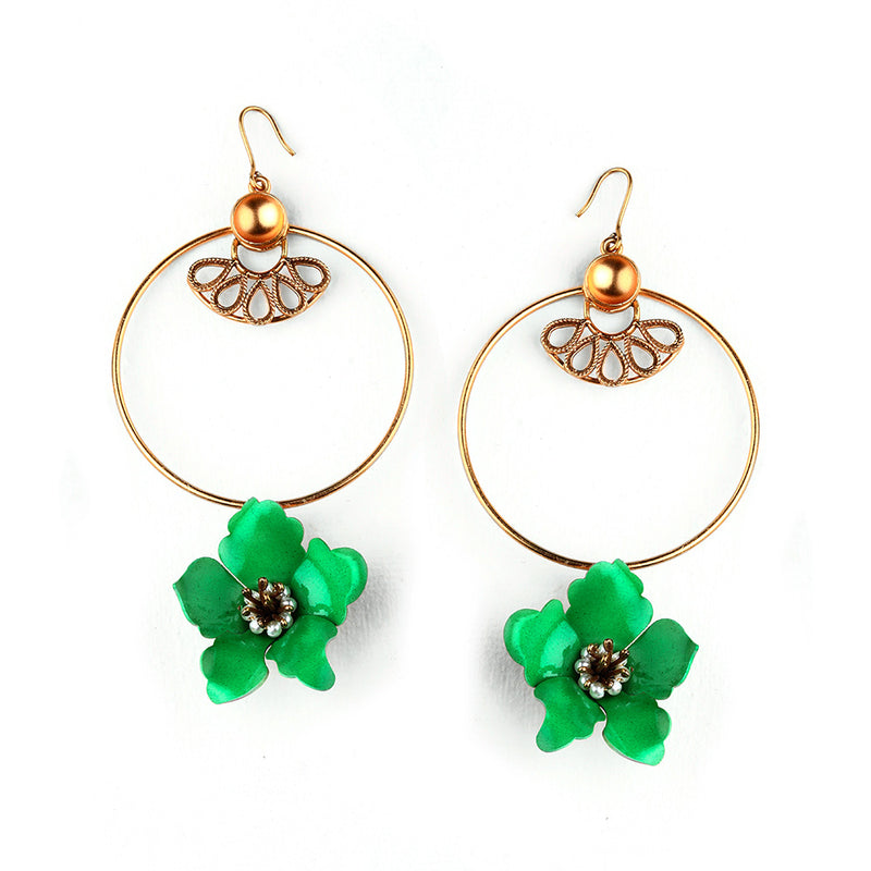 GOLD TONED CIRCULAR DROP EARRINGS WITH GREEN LILY & CREST DETAIL