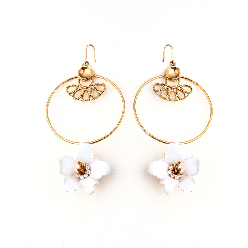 GOLD TONED CIRCULAR DROP EARRINGS WITH WHITE LILY & CREST DETAIL