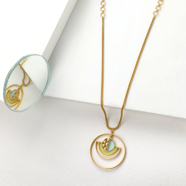 GOLD TONED CHAIN NECKLACE WITH CYAN & CHARTREUSE ACRYLIC CIRCULAR PENDANT