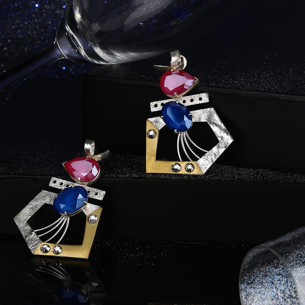 Sterling Silver Pentagon Stud Earrings With Peony Pink & Royal Blue Swarovski Crystals