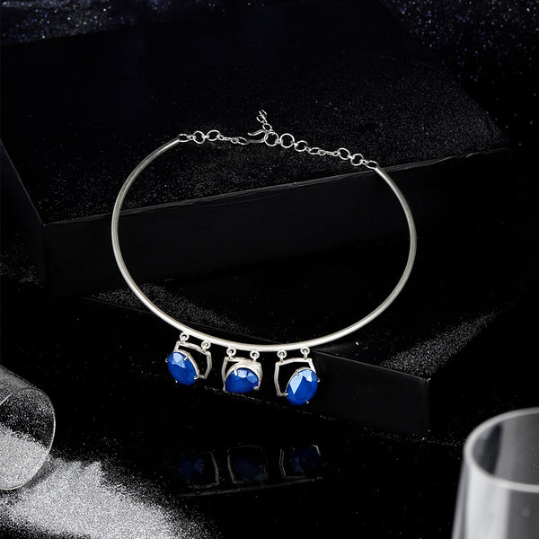 Sterling Silver Collar Necklace With Royal Blue Swarovski Crystal Pendants