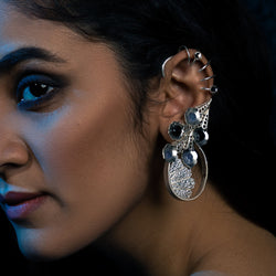 Sterling Silver Ear Cuffs With Peacock Plumes & Tanzanites