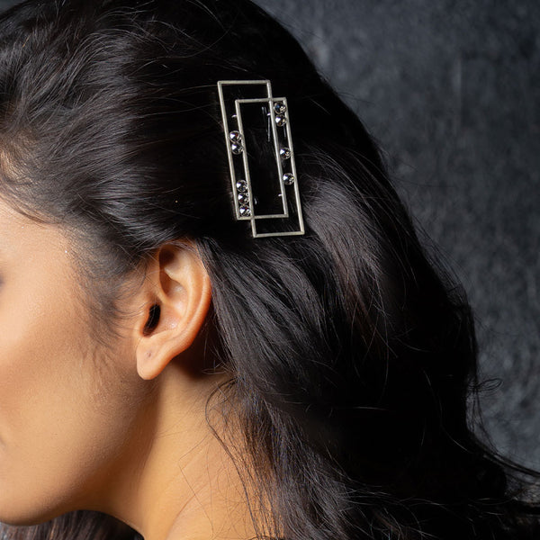 Sterling Silver Rectangular Hair Clips With Chatons