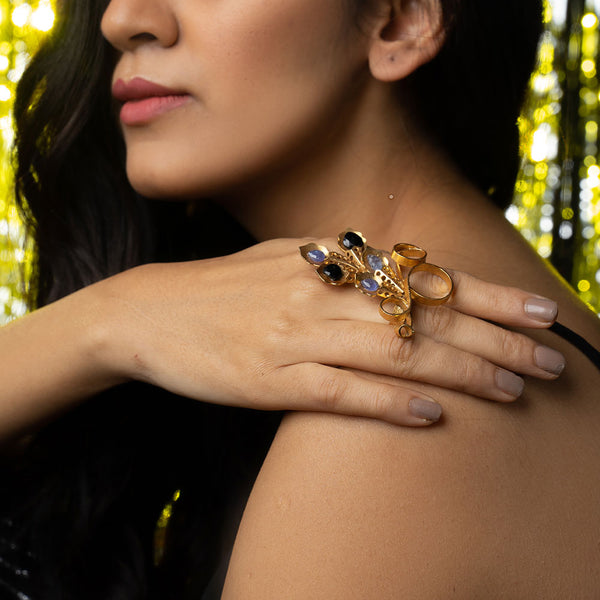 Gold Toned Peacock Plume Ring With Black Onyx & Tanzanites