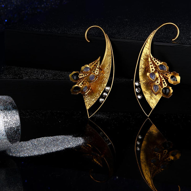 Gold Toned Textured Ear Cuffs With Peacock Plumes & Tanzanites