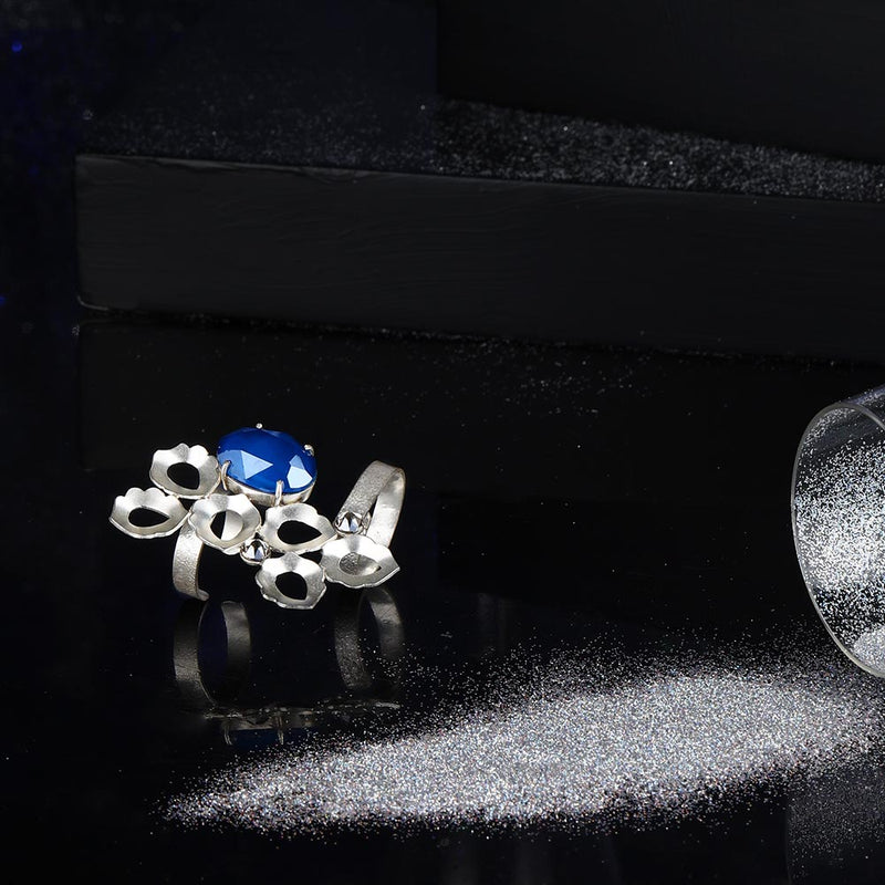 Sterling Silver Peacock Plume Ring With Royal Blue Swarovski Crystal