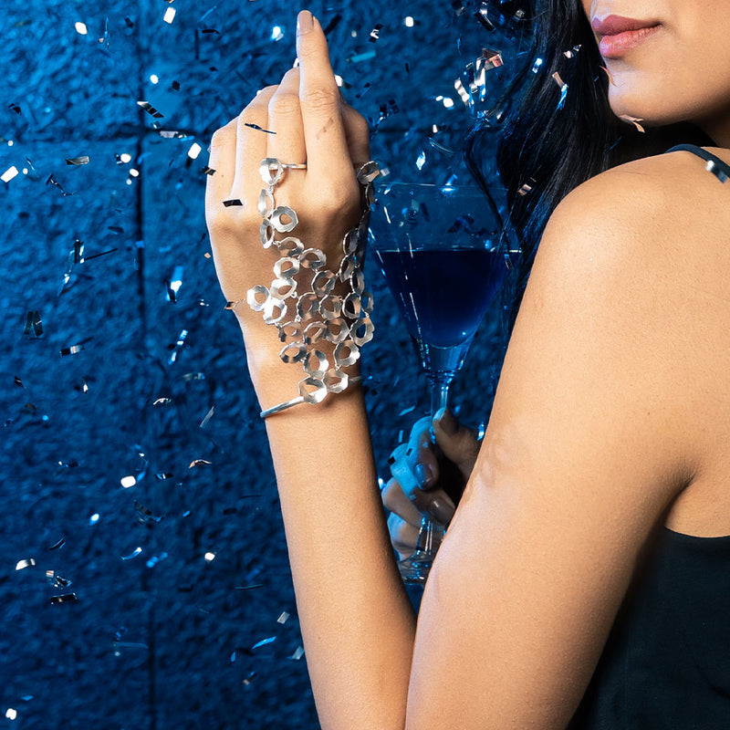 Sterling Silver Peacock Plume Hand Glove worn by Shruthi Haasan