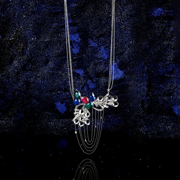 Sterling Silver Peacock Plume Pendant Necklace With Swarovski Crystals