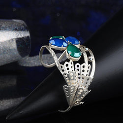 Sterling Silver Droplet Open Cuff With Royal Green & Royal Blue Swarovski Crystals