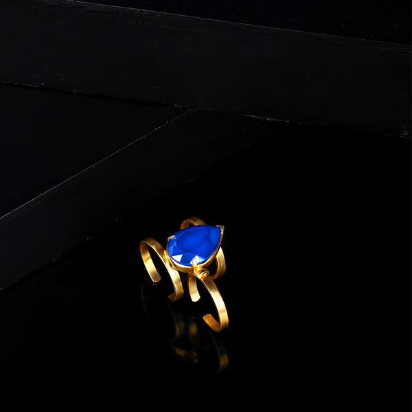 Gold Toned Two Finger Cocktail Ring With Royal Blue Swarovski Crystal