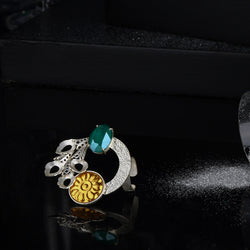 Mixed Metal Peacock Plume Cocktail Ring With Royal Green Swarovski Crystals