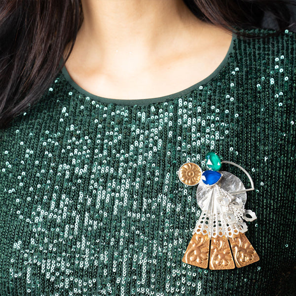 Mixed Metal Textures Brooch With Swarovski Crystals & Peacock Plume Details