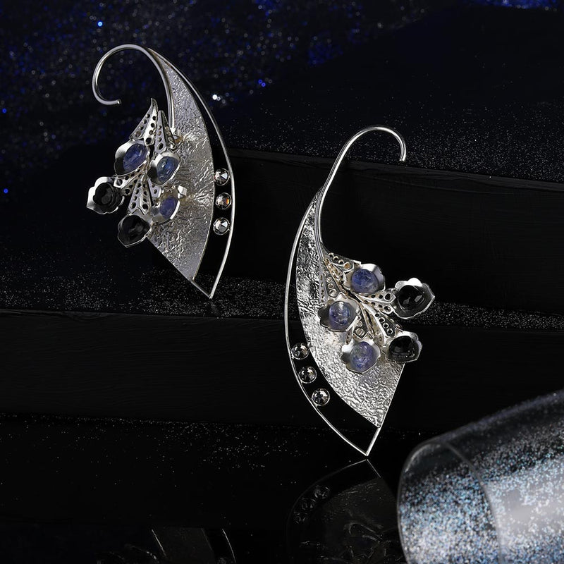 Sterling Silver Textured Ear Cuffs With Peacock Plumes & Tanzanites