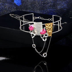 Sterling Silver Lines Choker With Mixed Metal Details & Swarovski Crystals