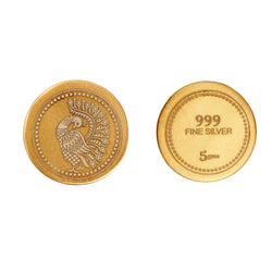 22k Gold Plated 999 Silver Peacock Coin - 5 gm