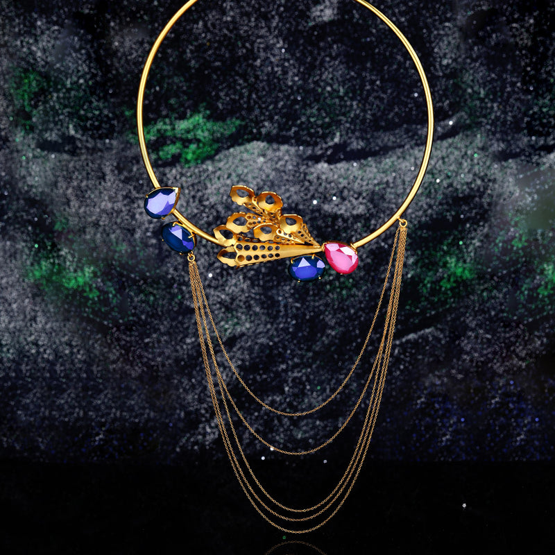Gold Toned Oval Peacock Plume Collar Necklace With Swarovski Crystals & Cascading Chains