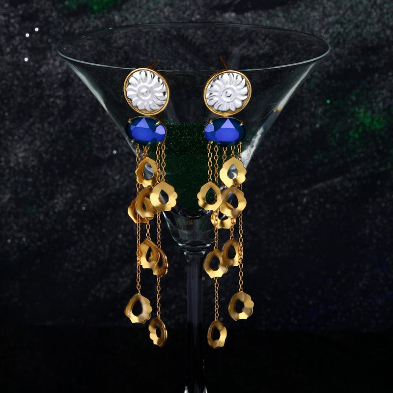 Mixed Metal Long Earrings With Peacock Plume Tassels & Swarovski Crystals