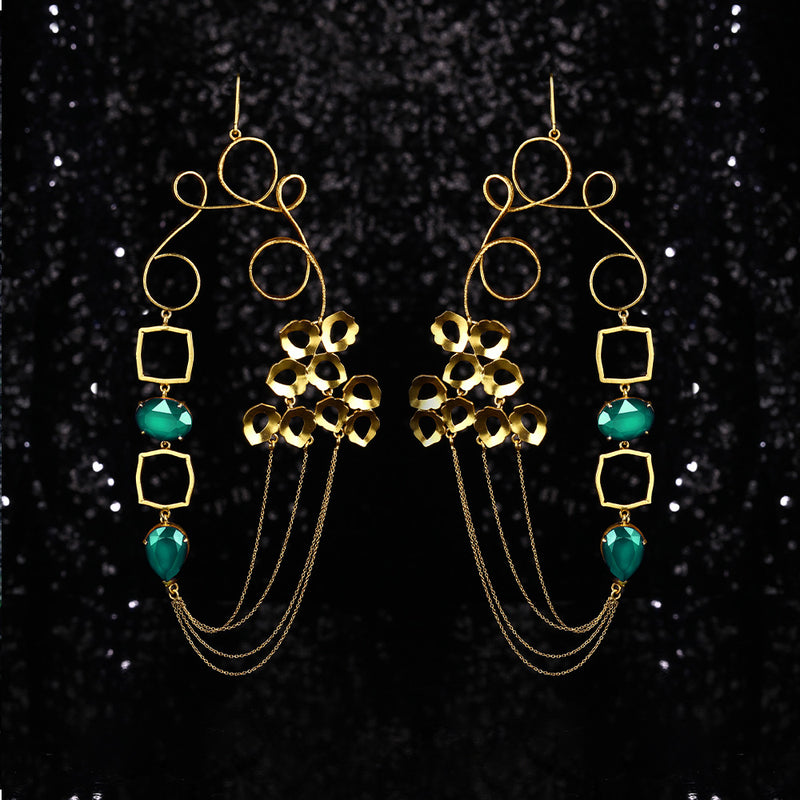 Gold Toned Loops Earrings With Peacock Plume & Swarovski Crystal Details