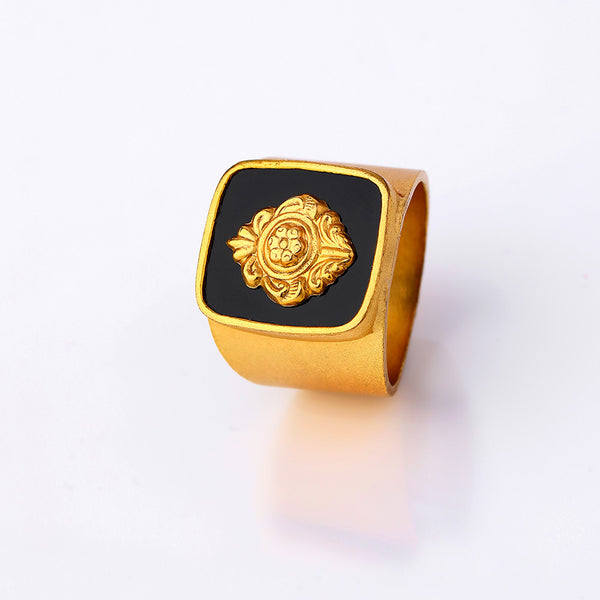 Gold Toned Emblem Ring With Black Acrylic